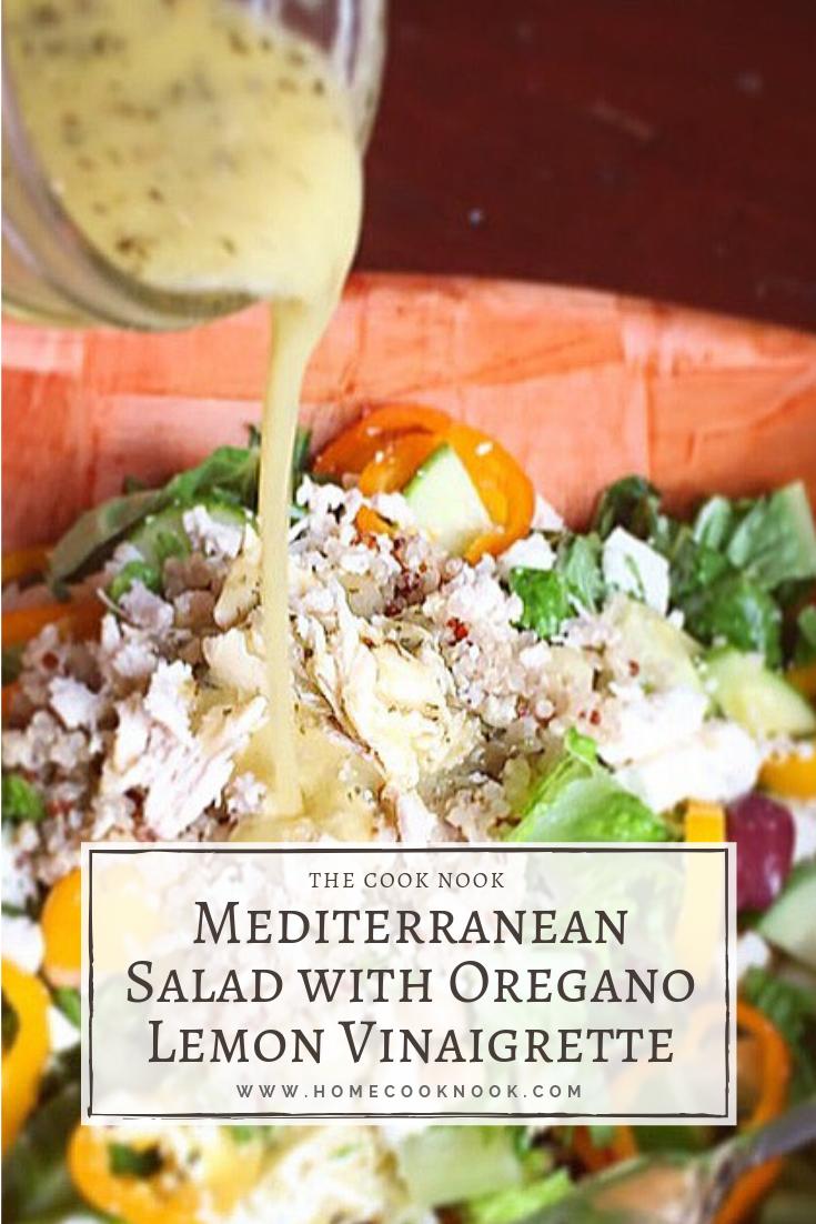 Mediterranean Salad with Oregano Lemon Vinaigrette