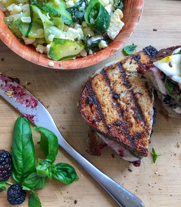 Blackberry Mozzarella Basil Grilled Cheese