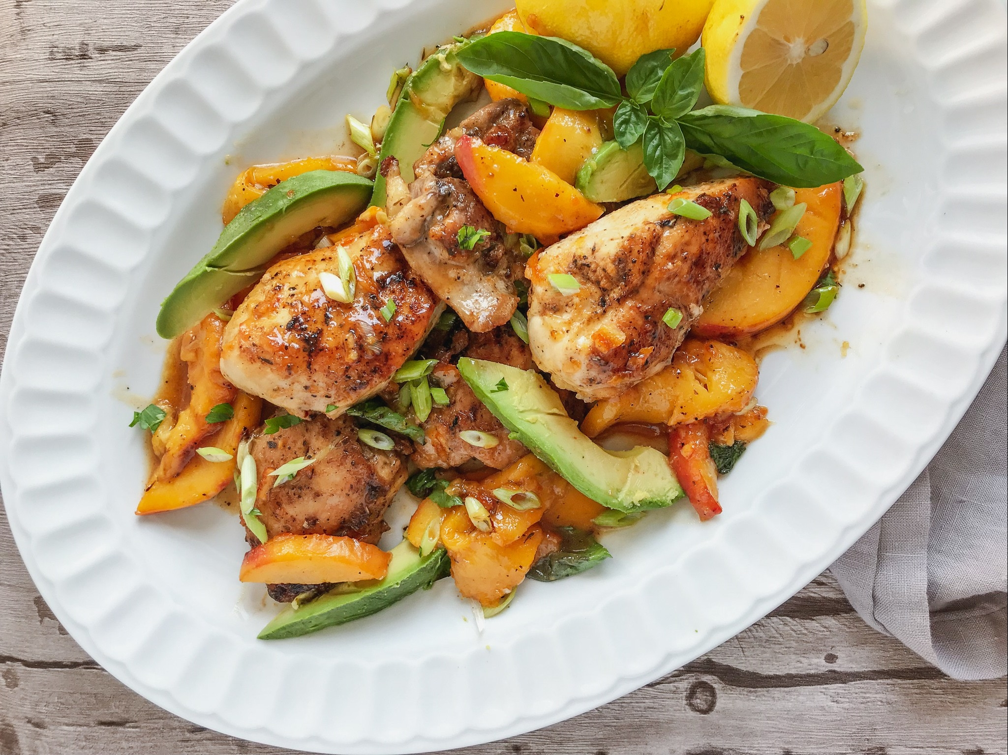 Cajun Chicken with Peaches and Basil