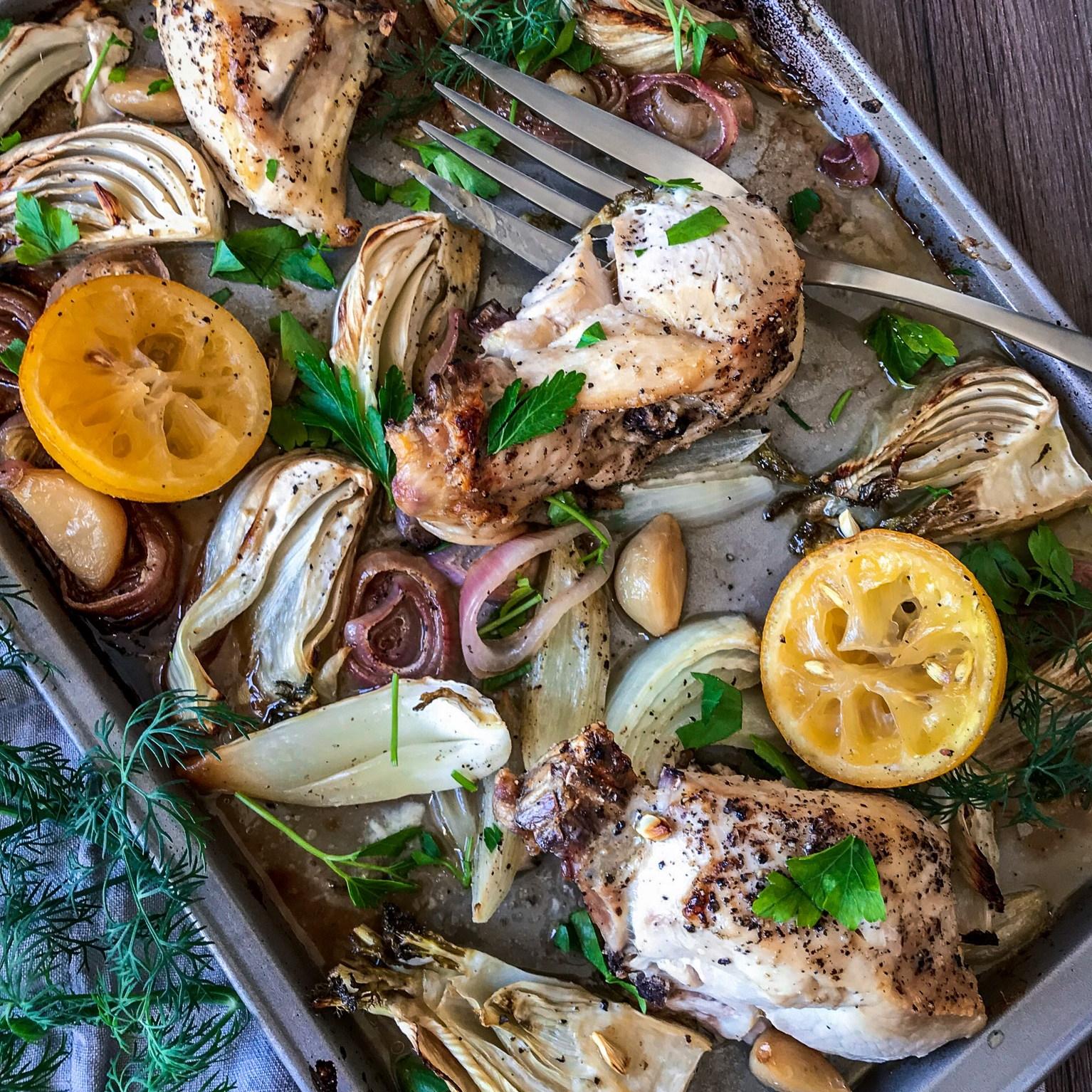 Lemon Fennel Sheet Pan Chicken