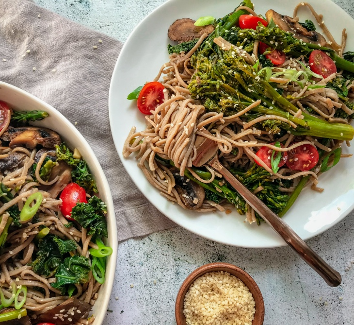 Roasted Teriyaki Mushrooms with Broccolini and Soba Noodles
