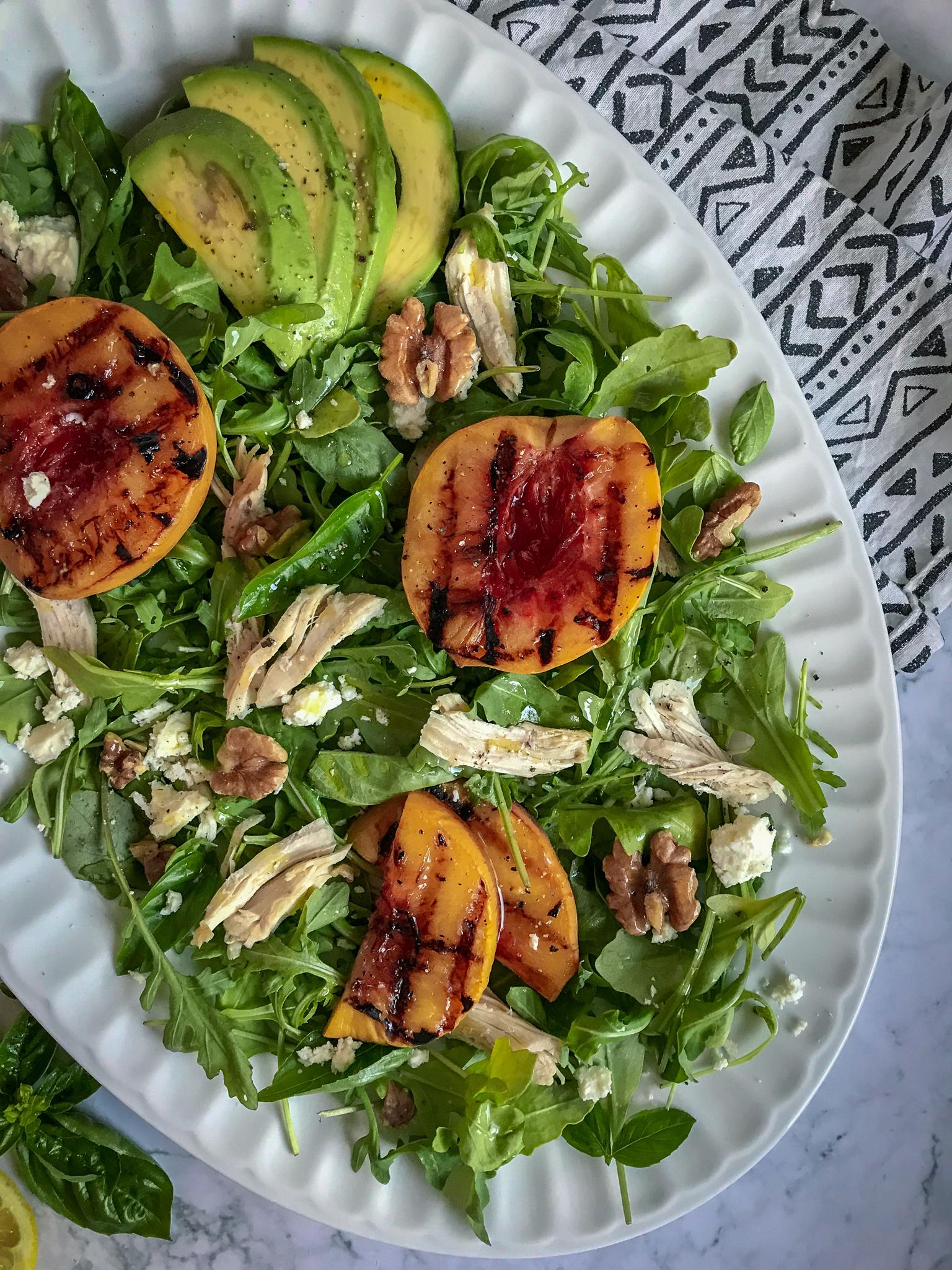 Grilled Peach, Chicken and Walnut Salad
