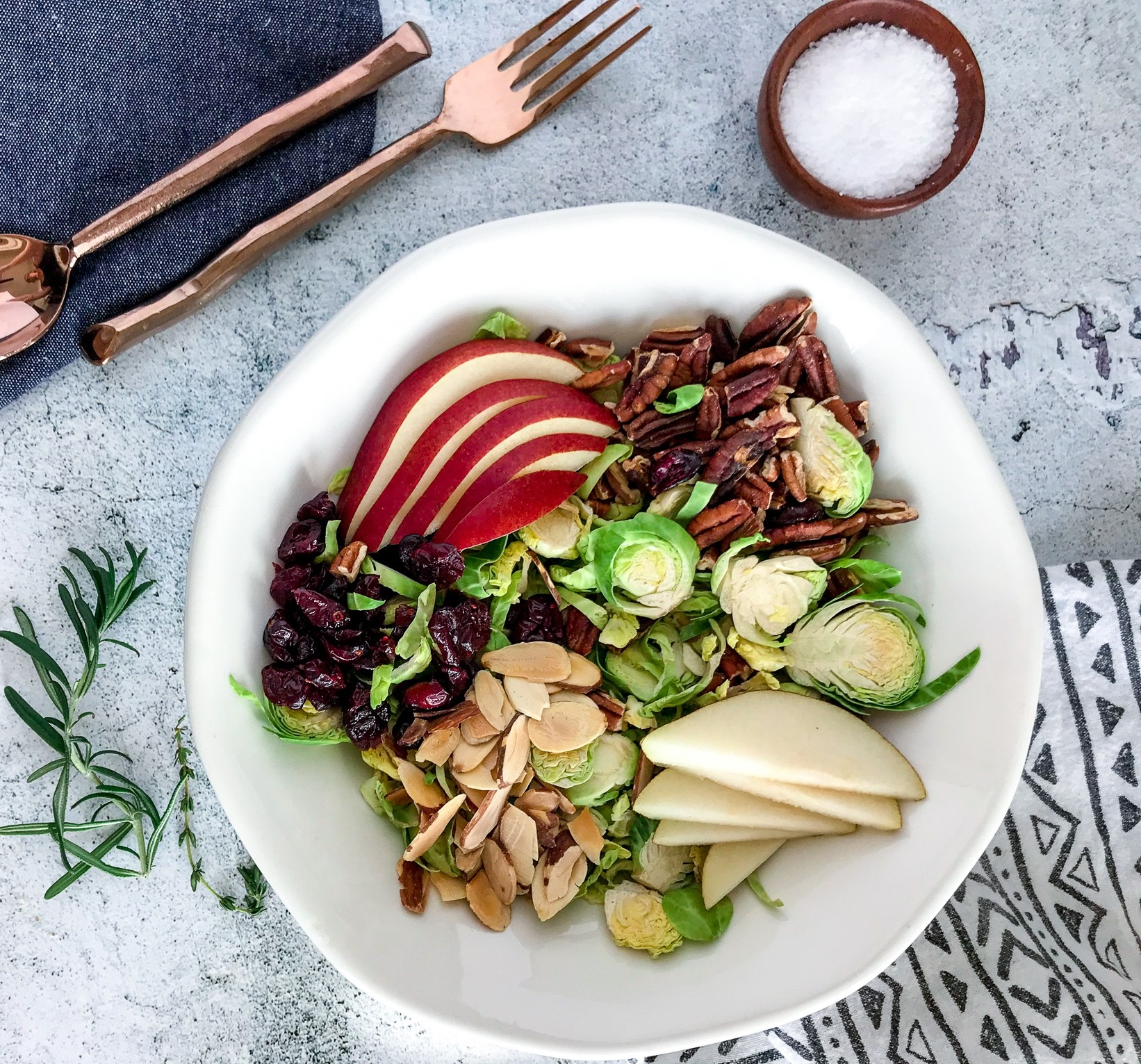 Healthy Brussel Sprout Salad with a Pear Vinaigrette