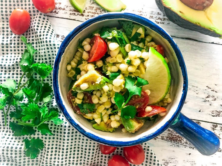 Corn Avocado Lime Salsa, Chicken Enchiladas