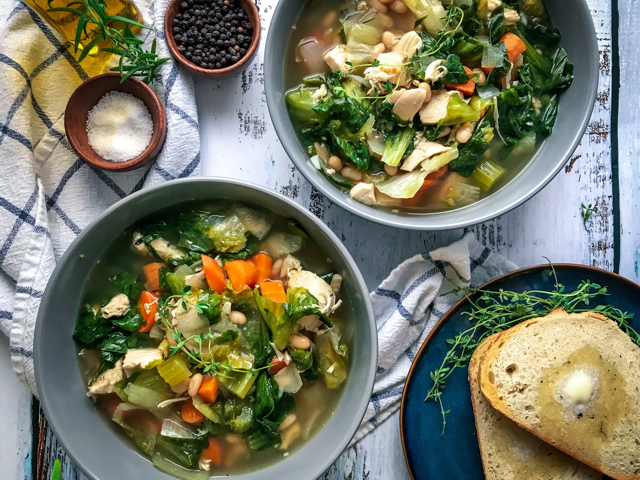 Chicken Soup with White Beans and Parmesan Escarole