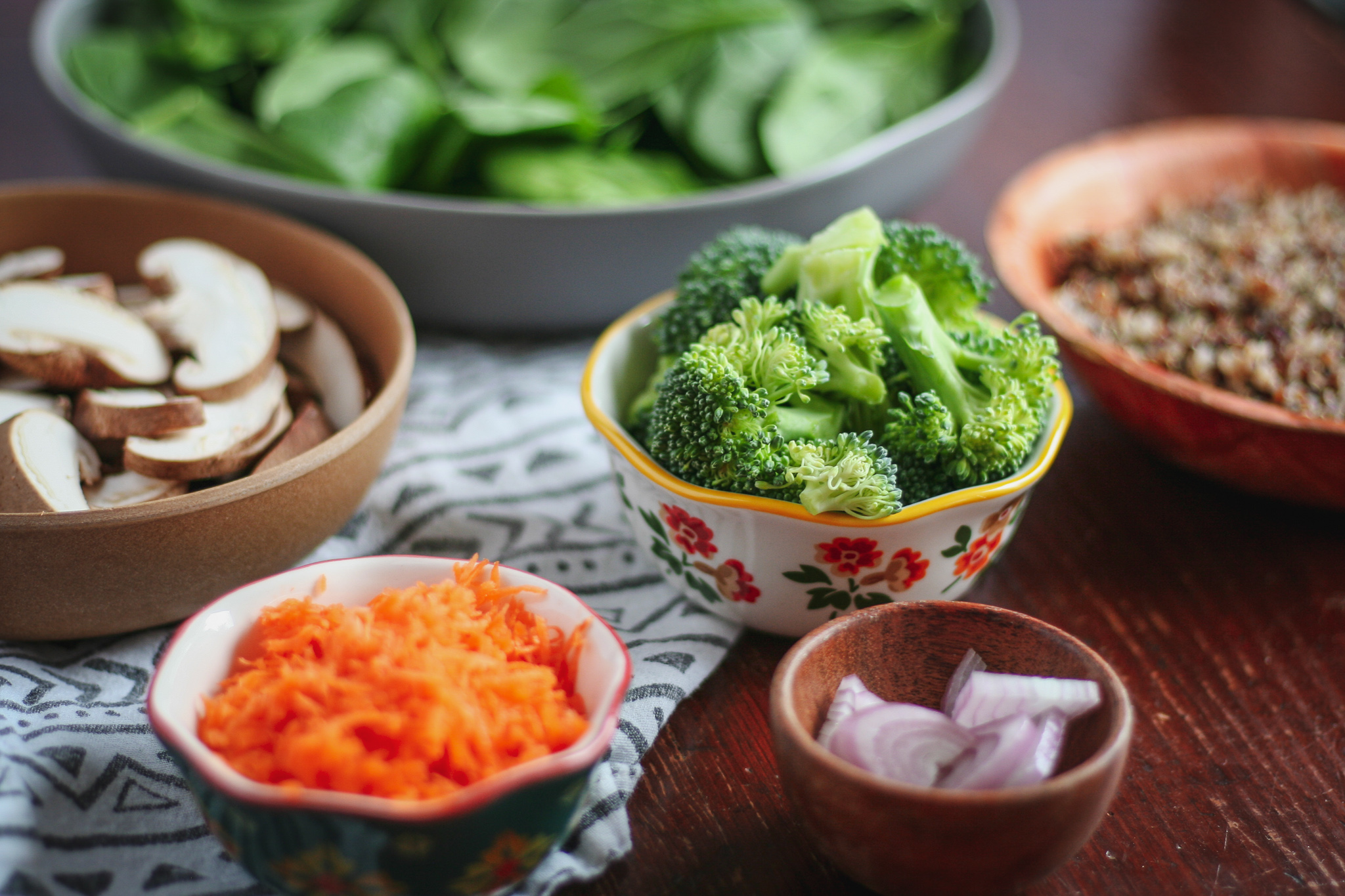 "Veggie Packed Quinoa Spinach Salad aka ""The Rowhouse"""