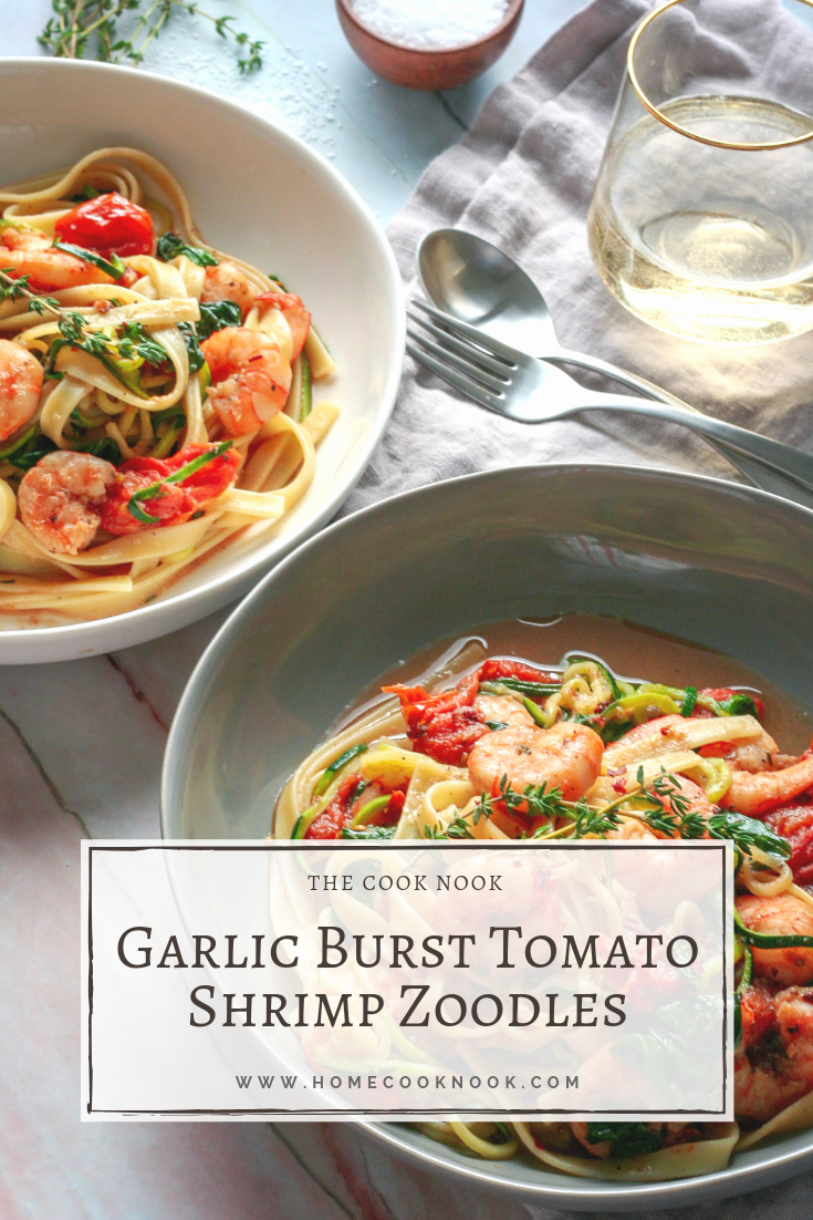 Garlic Burst Tomatoes over Shrimp Zoodles