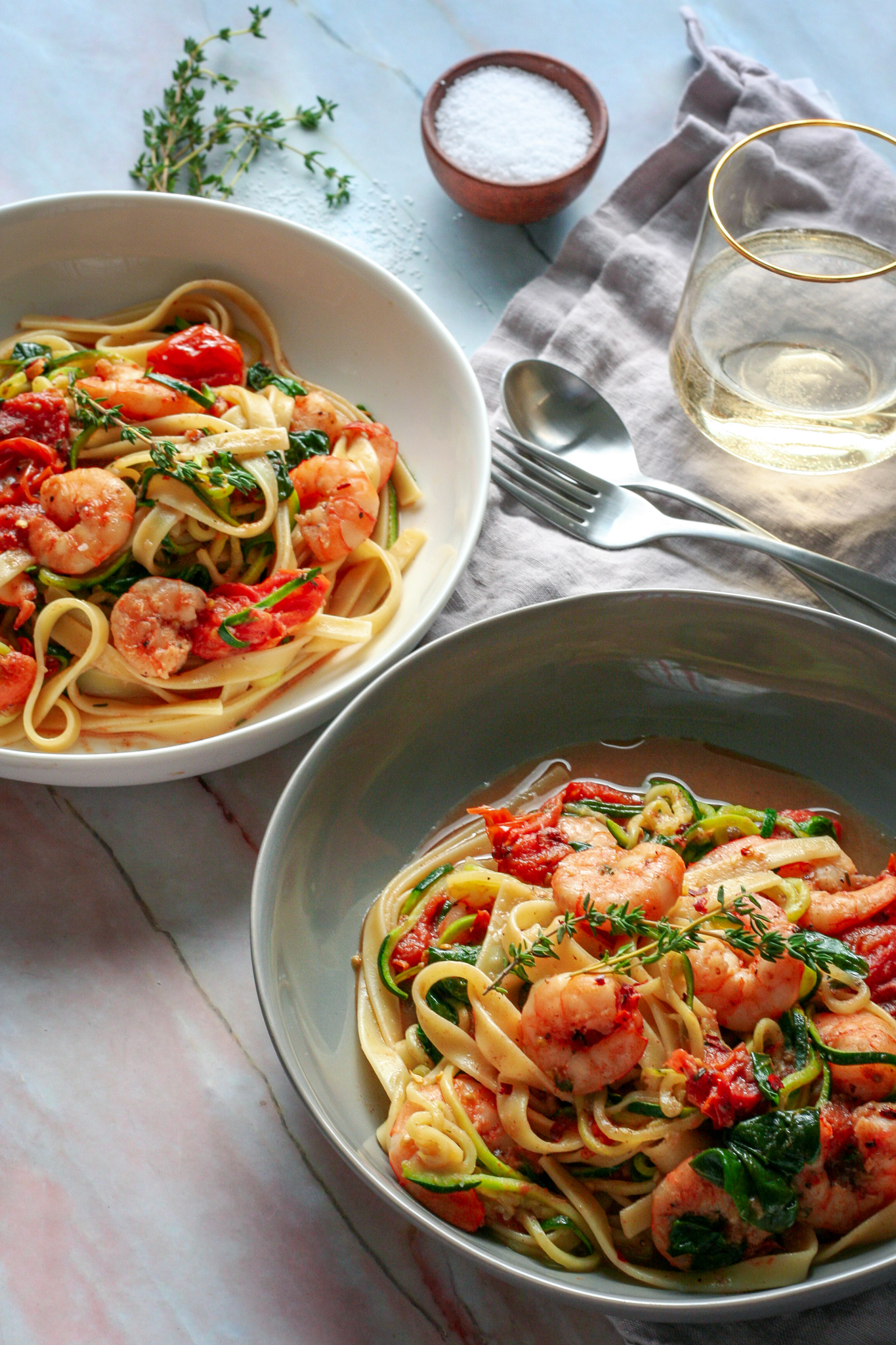 Burst Tomatoes over Garlic Shrimp Zoodles