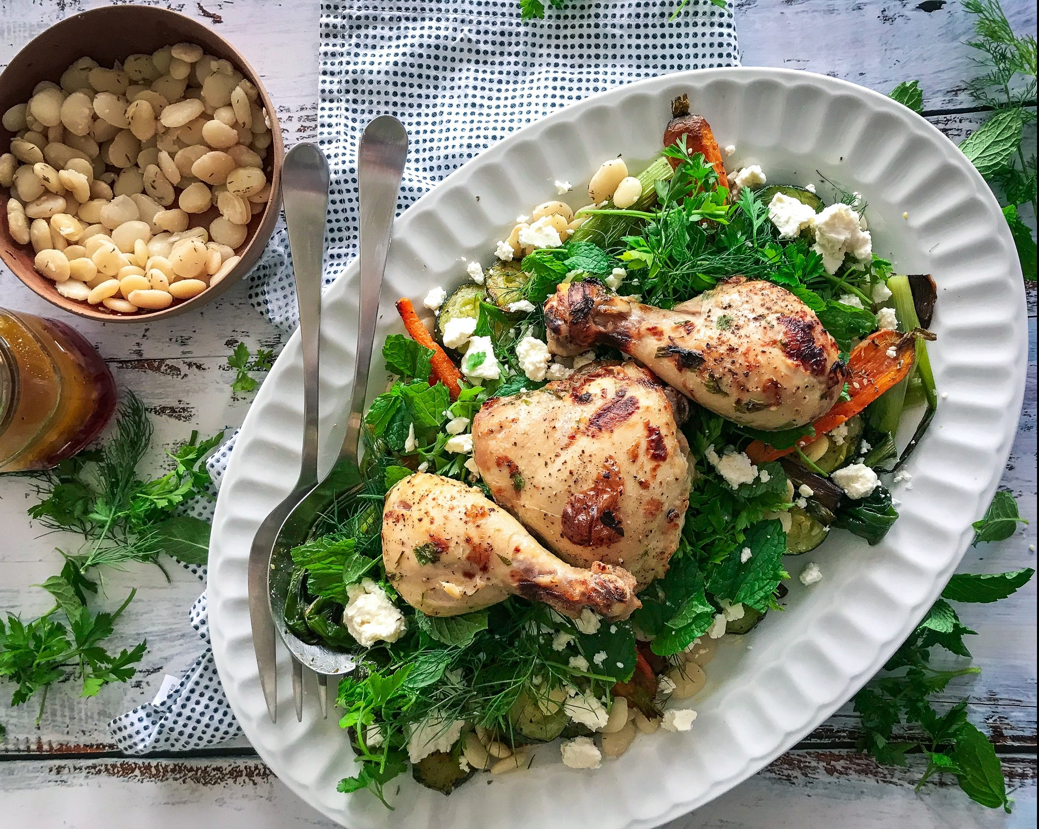 Roasted Summer Vegetable Herb Bean Salad and Buttermilk Chicken