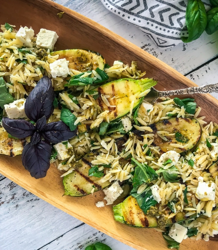 Grilled Pesto Zucchini Stuffed with Feta and Orzo