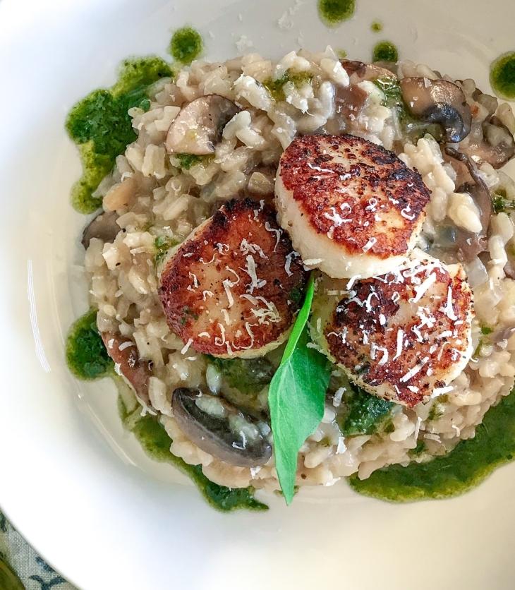 Seared Scallops over Mushroom Risotto & Basil Oil
