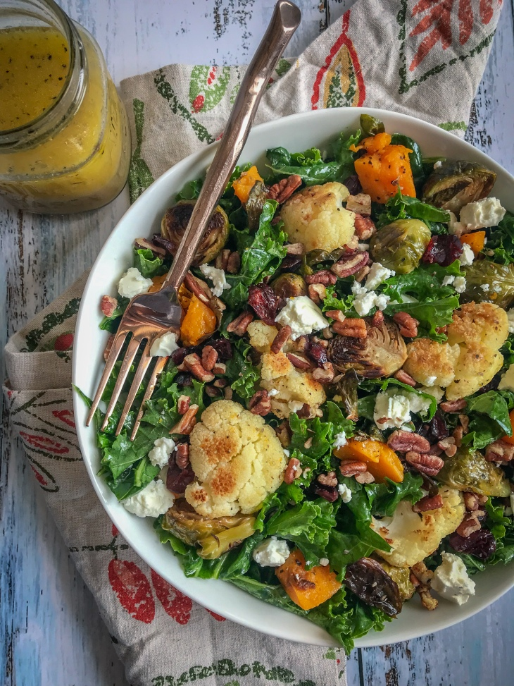 Fall Vegetable Kale Salad with Cider Vinaigrette