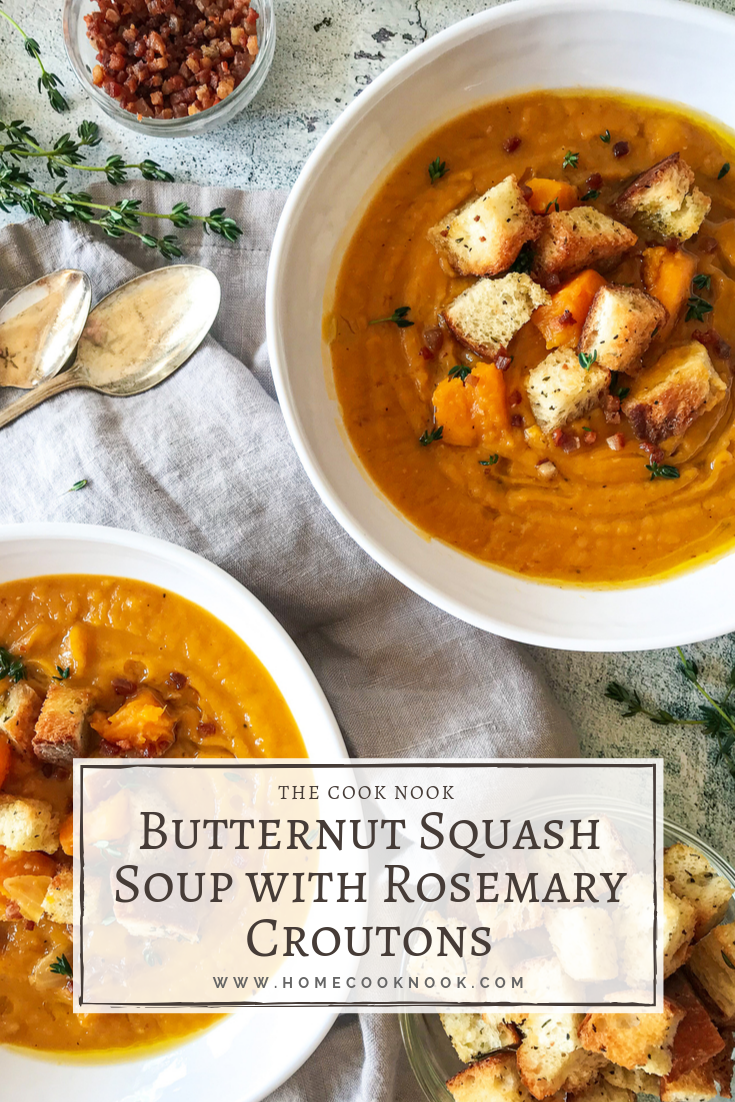 Butternut Squash Soup with Rosemary Croutons