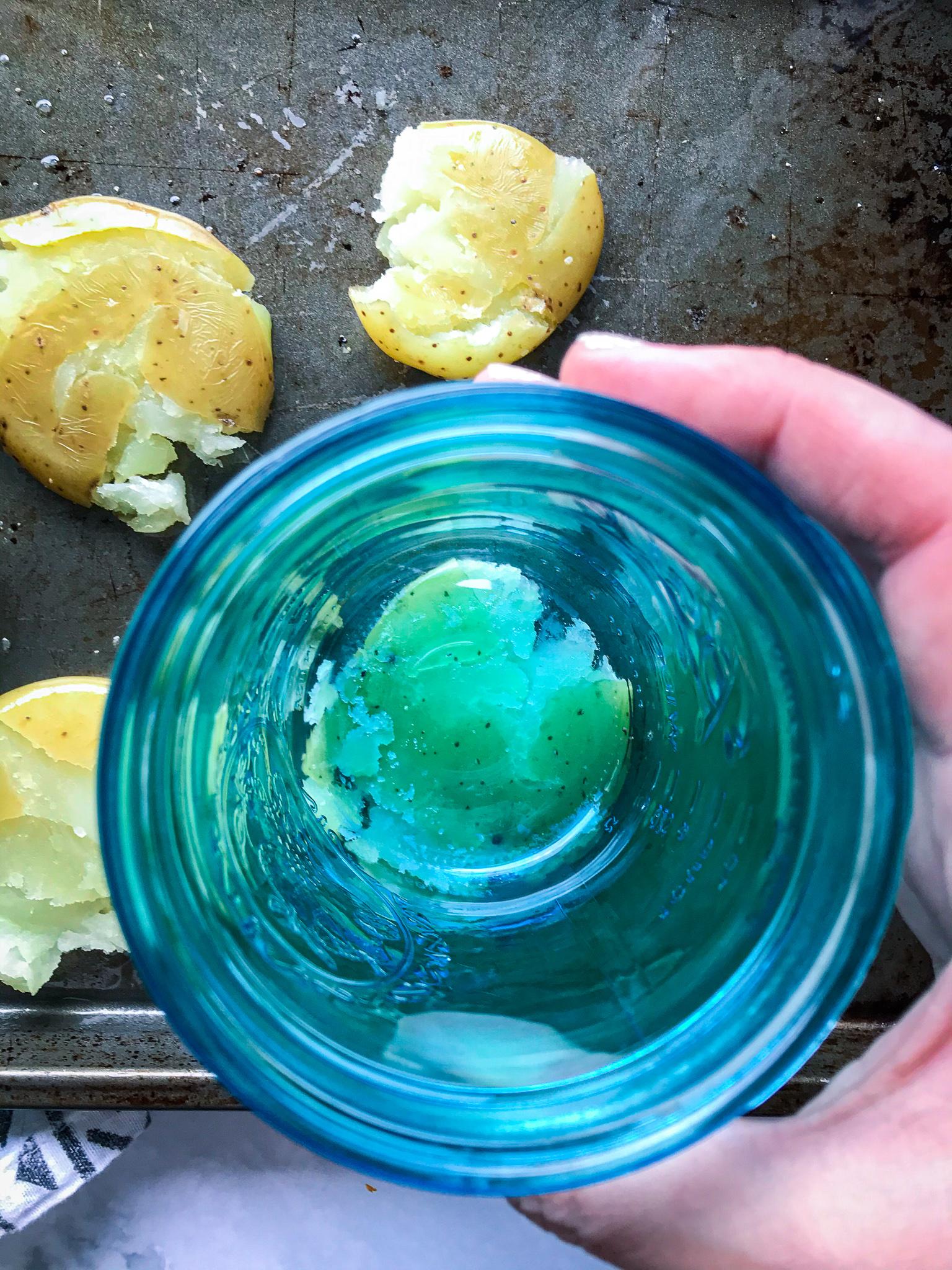 Smashed Potatoes with Charred Scallion Chimichurri