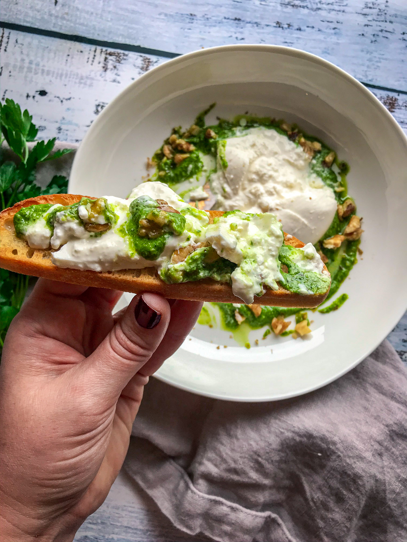 Walnut Pesto Burrata Toast