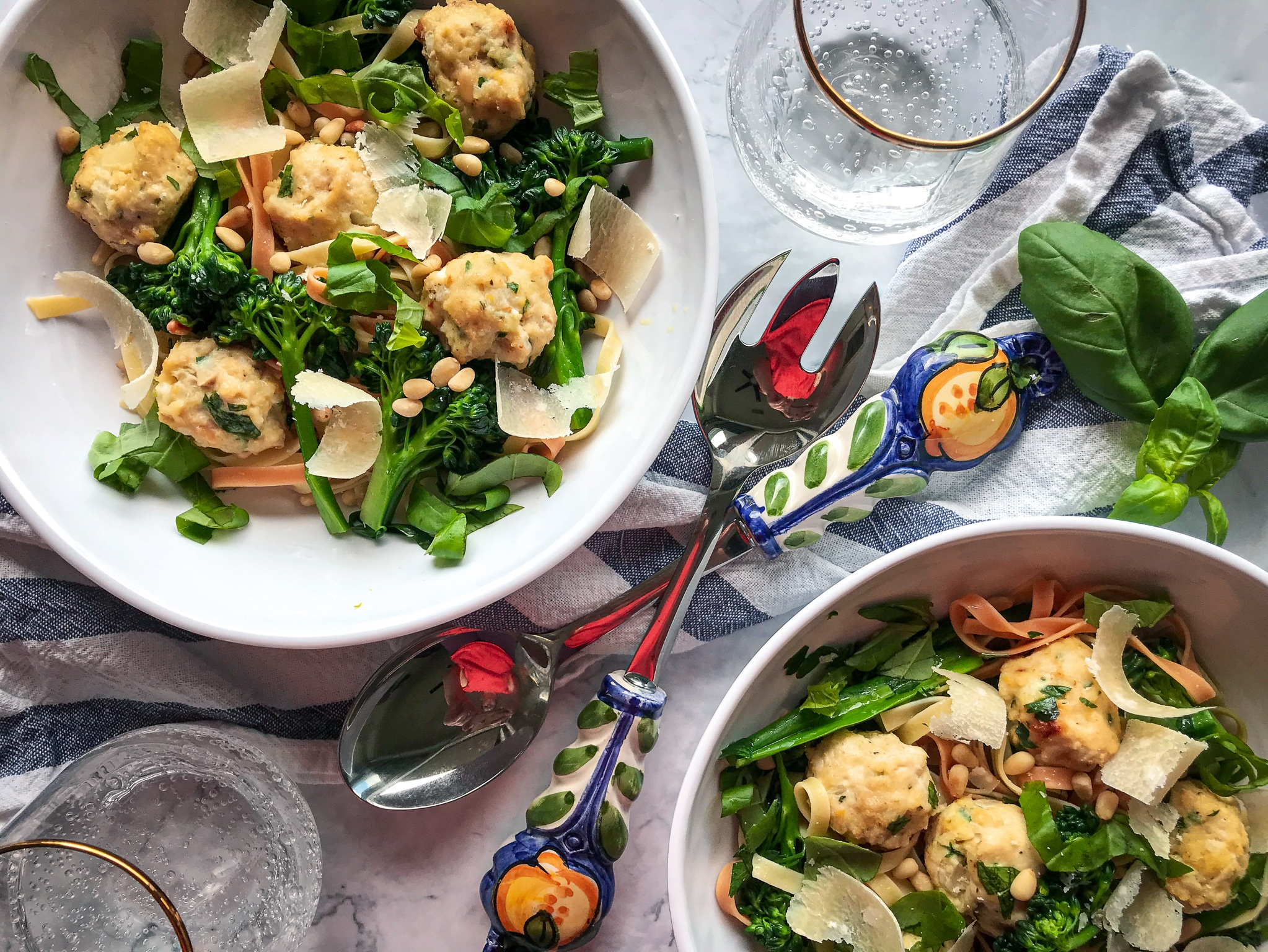 Pasta with Chicken Parmesan Meatballs and Broccolini