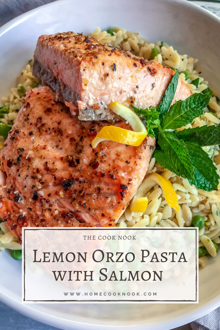 Lemon Orzo Pasta with Salmon